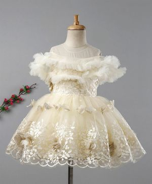 Enfance Fancy Tulle Embroidery Half Sleeves Dress - Cream
