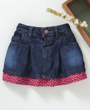 Babyhug Denim Skirt With Polka Dotted Hem - Dark Blue