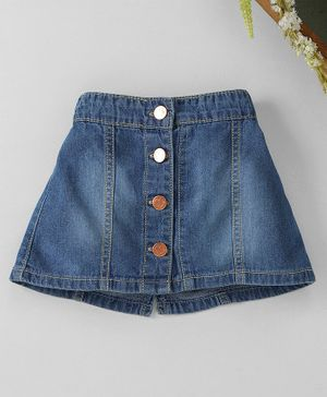 Babyhug Solid Denim Mid Thigh Length Skirt With Front Buttons - Blue