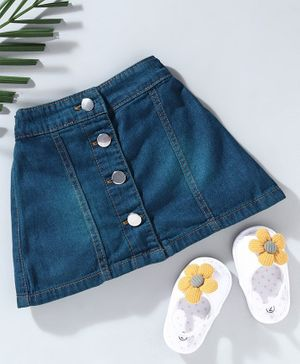 Babyhug Solid Denim Mid Thigh Length Skirt With Front Buttons - Green