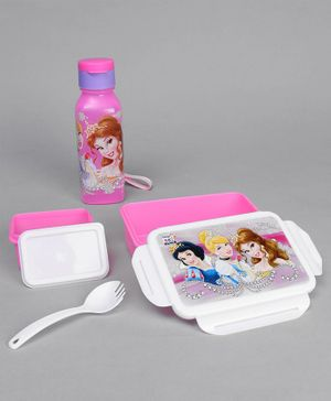 Disney Princess Lock And Seal Combo Of Lunch Box and  Water Bottle - Pink
