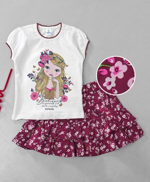 Doreme Short Sleeves Top With Skirt Floral & Girl Print - White Maroon