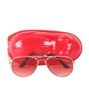 Spiky Solid Framed Tinted Aviators - Red