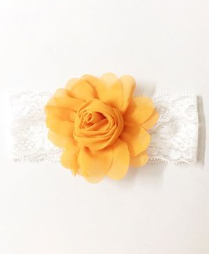 Knotty Ribbons Rose Flower Embellished Headband- Orange