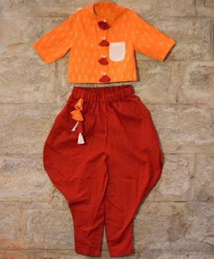 Tutus by Tutu Printed Half Sleeves Shirt & Balloon Pant Set - Orange & Maroon