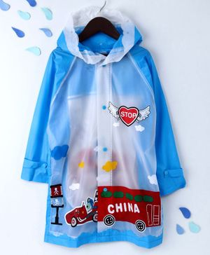 Full Sleeves Hooded Raincoat Racing Car Print - Blue