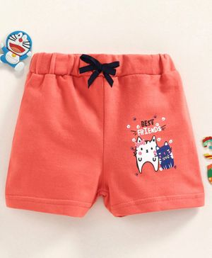 Babyhug Elasticated Waist Mid Thigh Shorts Kitty Print - Peach