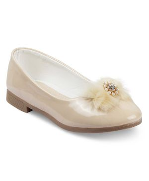 Kittens Flower Design Pearl Embellished Bellies  - Beige