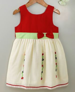 Enfance Core Flower Embroidered Sleeveless Dress - Red