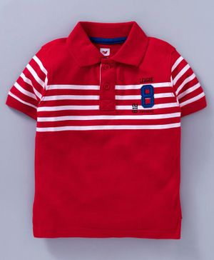 612 League Striped Half Sleeves Polo Tee - Red