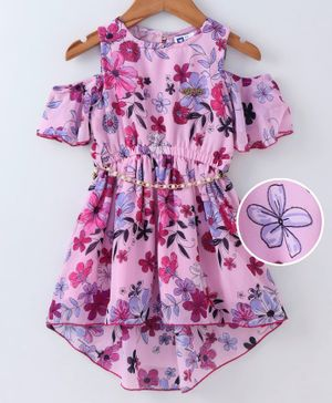 612 League All Over Flower Print Half Sleeves Dress - Pink