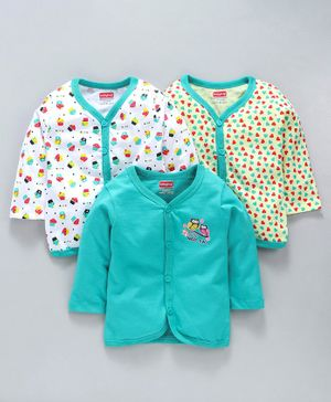 Babyhug Full Sleeves Cotton Vests Multiprint Pack of 3 - White Yellow Sea Green