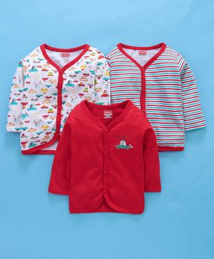 Babyhug Full Sleeves Cotton Vests Stripes & Car Print Pack of 3 - Red
