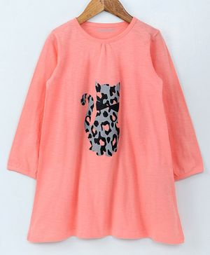 Funkrafts Full Sleeves Animal Print Night Dress - Orange