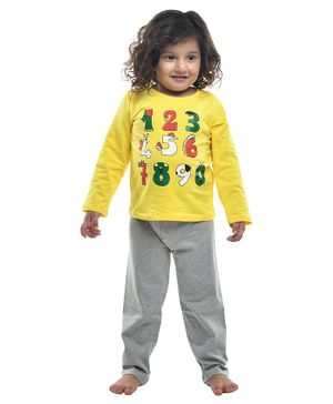 Funkrafts Numbers Printed Full Sleeves Night Suit - Yellow