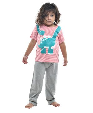 Funkrafts Half Sleeves Dinosaur Print Night Suit - Pink