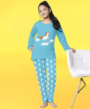 Funkrafts Unicorn Print Full Sleeves Night Suit - Sky Blue