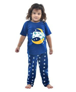 Funkrafts Cow Printed Half Sleeves Night Suit - Blue