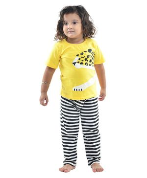 Funkrafts Half Sleeves Cheetah Print Night Suit - Yellow