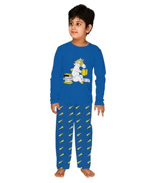 Funkrafts Unicorn Print Full Sleeves Night Suit - Blue