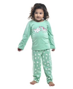 Funkrafts Unicorn & Rhinoceros Print Full Sleeves Night Suit - Sea Green