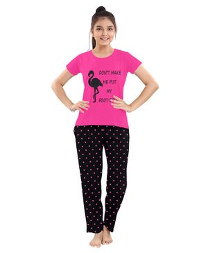 Funkrafts Flamingo Print Half Sleeves Night Suit - Pink