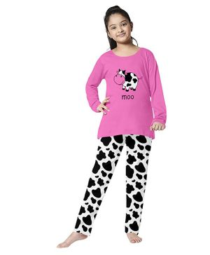 Funkrafts Cow Print Full Sleeves Night Suit - Pink