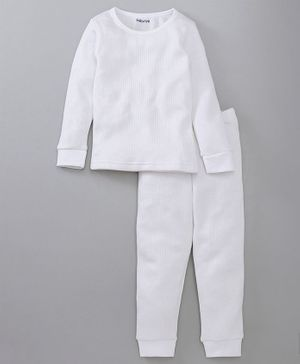 Babyoye Full Sleeves Thermal Tee And Bottoms - White