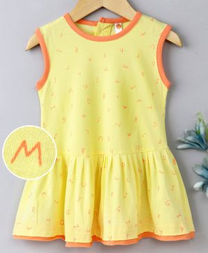 Dew Drops Sleeveless Frock Allover Print - Yellow