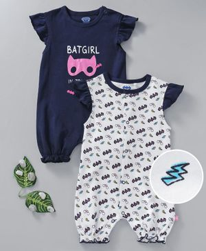 Mom's Love Flutter Sleeves Romper Batgirl Print Pack of 2 - Navy Blue White