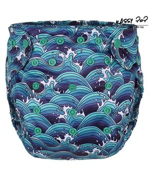 Kassy Pop Reusable Diaper Cover With Cotton Insert Allover Print  - Blue