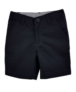 Campana Solid Button Closure Shorts - Black