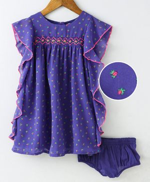 Nauti Nati Small Flower Print Short Sleeves Dress With Bloomer - Purple