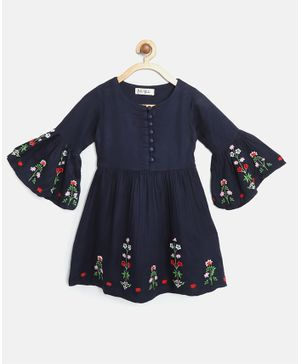 Bella Moda Full Bell Sleeves Flower Embroidered Dress - Navy Blue