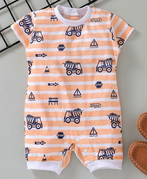 Little Kangaroos Half Sleeves Romper Allover Print - Peach