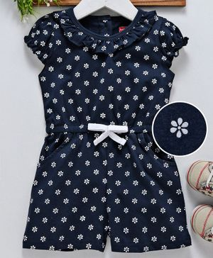 Babyhug Short Sleeves Floral Print Jumpsuit - Navy Blue