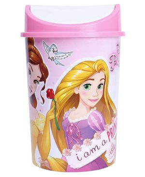 Disney Princess Plastic Dustbin With Lid - Pink