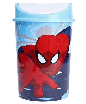 Marvel Spiderman Plastic Dustbin With Lid - Red & Blue