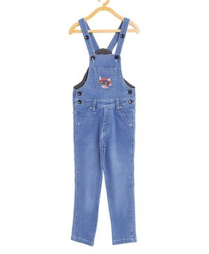 FirstClap Full Length Cartoon Embroidered Dungaree With Front Pockets - Light Blue