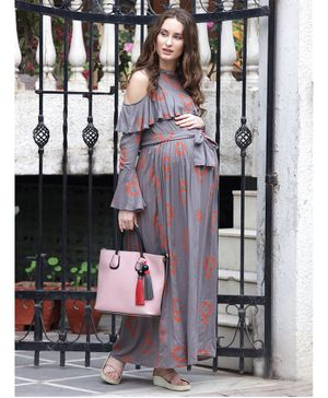 Mine4Nine Design Printed Full Sleeves Maxi Maternity Dress - Grey