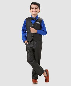Babyhug 3 Piece Full Sleeves Party Wear Suit With Waistcoat - Black and Blue