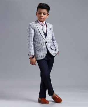 Babyhug 4 Piece Full Sleeves Party Suit With Tie & Pocket Square - Grey