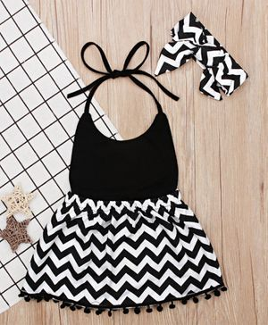 Pre Order - Awabox Chevron Print Sleeveless Halter Dress With Headband - Black