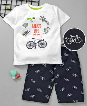 Lazy Bones Half Sleeves Tee And Shorts Bicycle Print - White Navy Blue