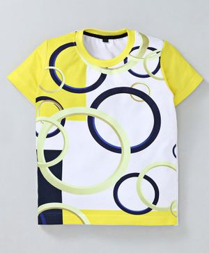Amigos Rings Printed Half Sleeves T-Shirt - White & Yellow