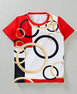 Amigos Rings Printed Half Sleeves T-Shirt - White & Red