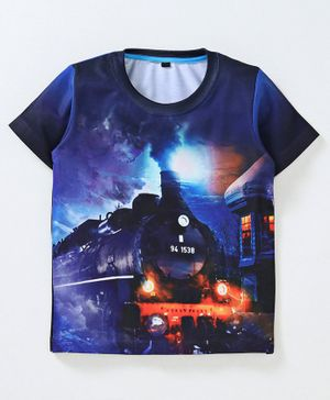 Amigos Train Print Half Sleeves T-Shirt - Navy Blue