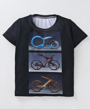 Amigos Bicycle Print Half Sleeves T-Shirt - Black