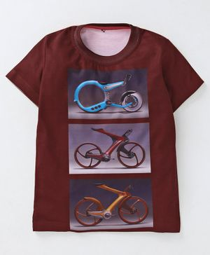 Amigos Bicycle Print Half Sleeves T-Shirt - Maroon