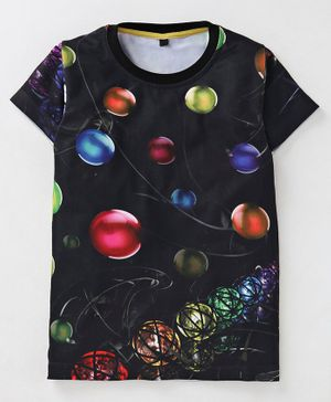 Amigos Balls Print Half Sleeves T-Shirt - Black